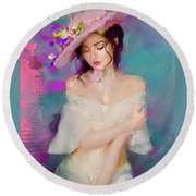 Girl With The Floral Hat Round Beach Towel