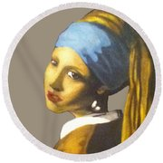 Round Beach Towel featuring the painting Girl With The Pearl Earring No Background by Jayvon Thomas