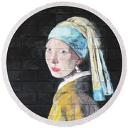 Round Beach Towel featuring the painting Girl With The Pearl Earring by Stan Tenney