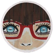 Round Beach Towel featuring the painting Girl With The Red Glasses by Kathleen Sartoris