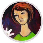 Round Beach Towel featuring the painting Girl With White Flower by Winsome Gunning