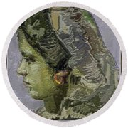 Girl With Yellow Earring Gwye2 Round Beach Towel
