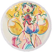 Girl03 Round Beach Towel
