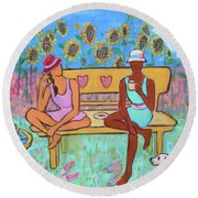 Round Beach Towel featuring the painting Girlfriends' Teatime IIi by Xueling Zou