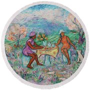 Round Beach Towel featuring the painting Girlfriends' Teatime Iv by Xueling Zou