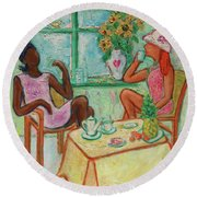 Round Beach Towel featuring the painting Girlfriends' Teatime V by Xueling Zou