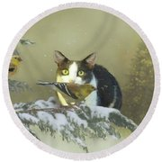 Girlie With The Goldfinches Round Beach Towel