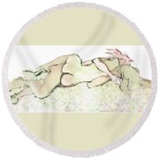 Girlies Tangled Together Round Beach Towel