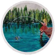 Girls Can Fish Round Beach Towel by Mike Caitham