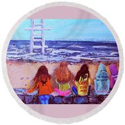 Girls In Falmouth Round Beach Towel