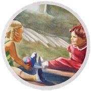 Girls Playing Ball  Round Beach Towel by Marilyn Jacobson