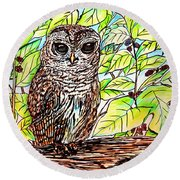 Give A Hoot Round Beach Towel