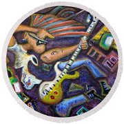 Give Em The Boot - Punk Rock Cubism Round Beach Towel