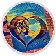 Give Love Round Beach Towel by Vennie Kocsis