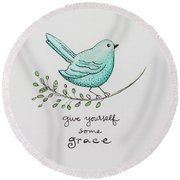 Give Yourself Some Grace Round Beach Towel