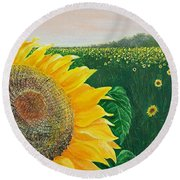 Round Beach Towel featuring the painting Giver Of Life by Susan DeLain