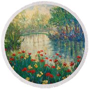 Giverny Round Beach Towel