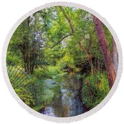 Round Beach Towel featuring the photograph Giverny Paradise by John Rivera