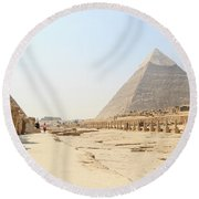 Round Beach Towel featuring the photograph Giza by Silvia Bruno
