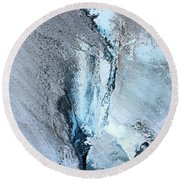 Round Beach Towel featuring the photograph Glacial Abstract by Kristin Elmquist