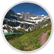 Round Beach Towel featuring the photograph Glacier Backcountry Trail by Gary Lengyel