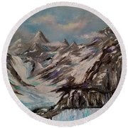 Round Beach Towel featuring the painting Glacier Bay, Alaska by Judith Rhue