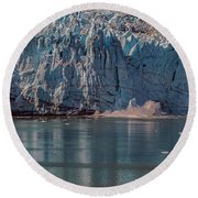 Round Beach Towel featuring the photograph Glacier Bay Ice Calving by Brenda Jacobs