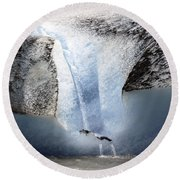 Round Beach Towel featuring the photograph Glacier Calving - Alaska by Madeline Ellis