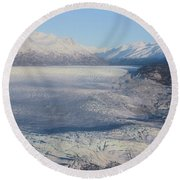 Glacier In Alaska Round Beach Towel
