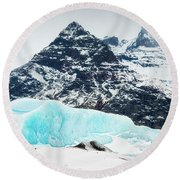 Round Beach Towel featuring the photograph Glacier Landscape Iceland Blue Black White by Matthias Hauser