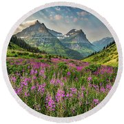 Glacier Meadow Round Beach Towel