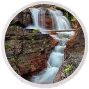 Glacier National Park Waterfall 2 Round Beach Towel