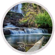Glacier National Park Waterfall 3 Round Beach Towel