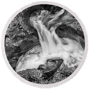 Glacier National Park's Avalanche Gorge In Black And White Round Beach Towel