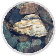 Glacier Park Creek Stones Submerged Round Beach Towel