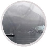 Glacier Ride Round Beach Towel by Zawhaus Photography