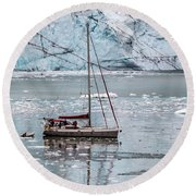 Round Beach Towel featuring the photograph Glacier Sailing by Ed Clark