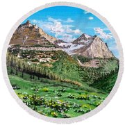 Round Beach Towel featuring the painting Glacier Summer by Kevin Daly
