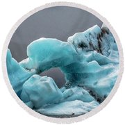 Glacier With Hole Round Beach Towel