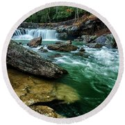 Glade Creek And Grist Mill Round Beach Towel