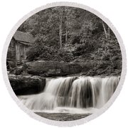 Glade Creek Grist Mill Monochrome Round Beach Towel