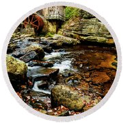 Glade Creek Grist Mill Fall  Round Beach Towel