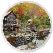 Glade Creek Grist Mill In Autumn Round Beach Towel