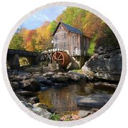Round Beach Towel featuring the photograph Glade Creek Grist Mill by Steve Stuller