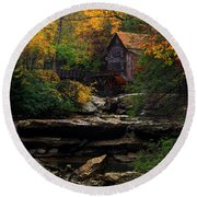 Glades Creek Grist Mill West Virginia Round Beach Towel