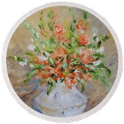 Round Beach Towel featuring the painting Gladiolas by Judith Rhue