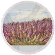 Gladiolus Field Round Beach Towel