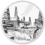 Gladys City Round Beach Towel