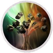 Glasblower's Tulips Round Beach Towel by Johnny Hildingsson
