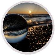 Glass Ball On The Beach At Sunrise Round Beach Towel